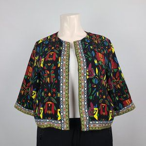 Flower Print Embroidered Cardigan Jacket Size 3XL
